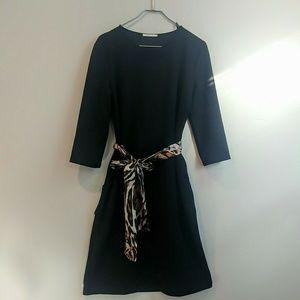 Zara black dress with Leapord sash
